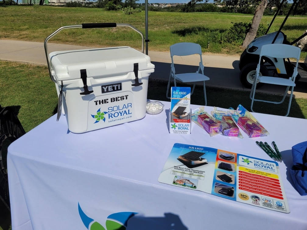 win solar royal yeti cooler at 2021 RCAT Texas Roofing Conference